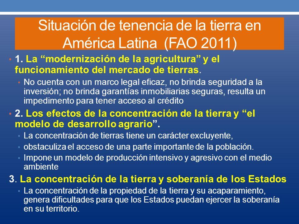 Situación de tenencia de la tierra en América Latina (FAO 2011) Denuncia situaciones como: 1.