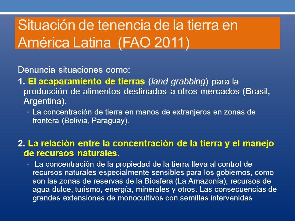 Situación de tenencia de la tierra en América Latina (FAO 2011) Denuncia situaciones como: 1. El acaparamiento de tierras (land grabbing) para la prod