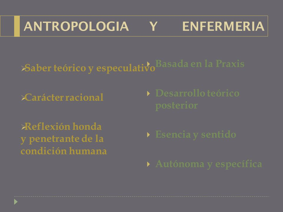 ANTROPOLOGIA Y ENFERMERIA Saber teórico y especulativo Carácter racional Reflexión honda y penetrante de la condición humana Basada en la Praxis Desarrollo teórico posterior Esencia y sentido Autónoma y específica