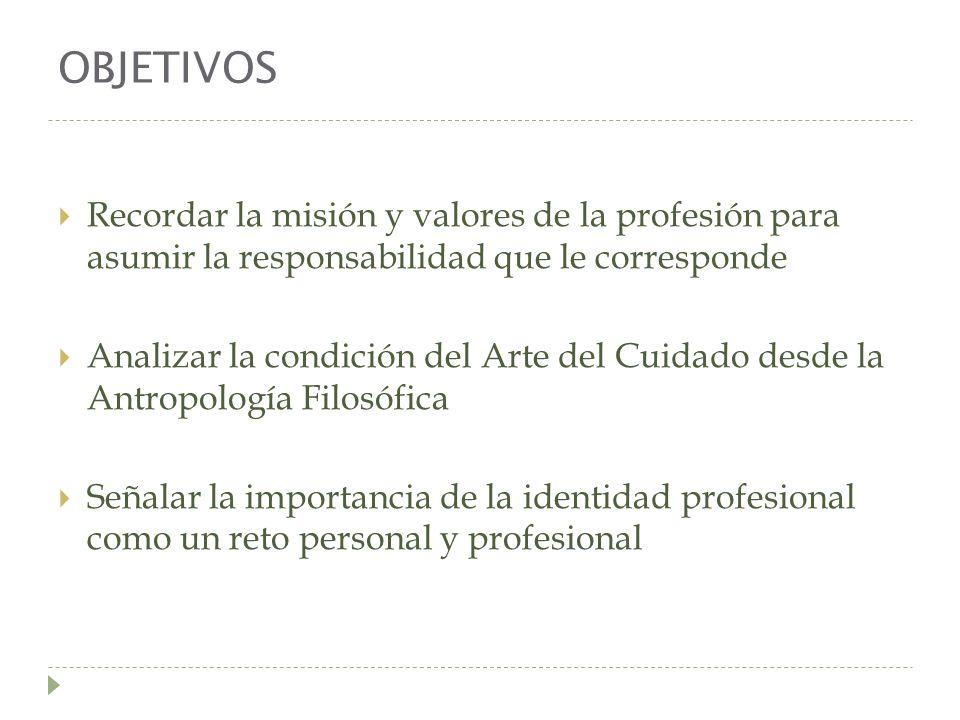 OBJETIVOS Recordar la misión y valores de la profesión para asumir la responsabilidad que le corresponde Analizar la condición del Arte del Cuidado de