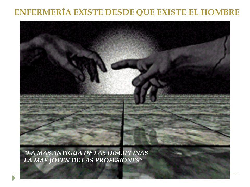 ENFERMERÍA EXISTE DESDE QUE EXISTE EL HOMBRE LA MAS ANTIGUA DE LAS DISCIPLINAS LA MAS JOVEN DE LAS PROFESIONES