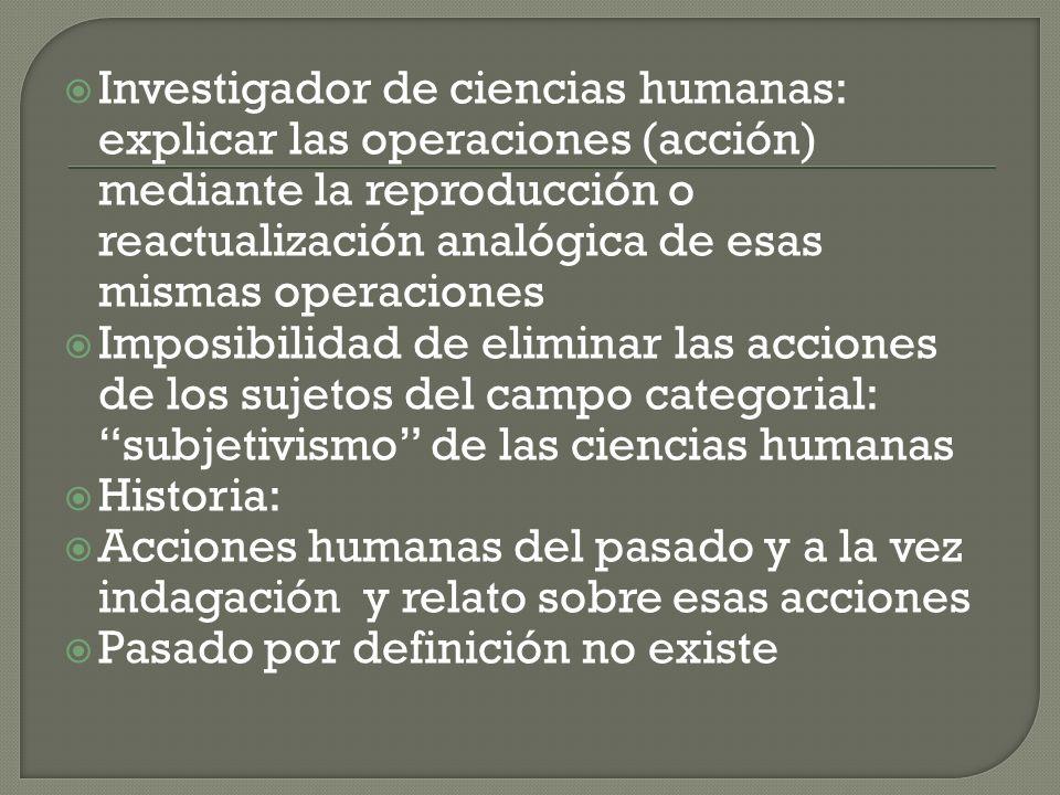 Investigador de ciencias humanas: explicar las operaciones (acción) mediante la reproducción o reactualización analógica de esas mismas operaciones Im