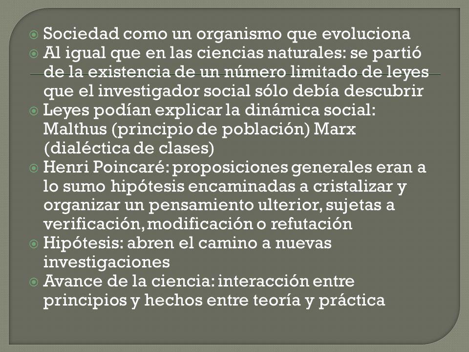 Sociedad como un organismo que evoluciona Al igual que en las ciencias naturales: se partió de la existencia de un número limitado de leyes que el inv