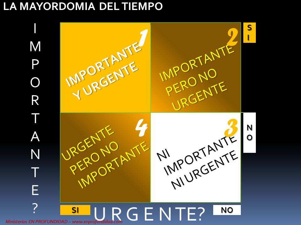 Ministerios EN PROFUNDIDAD – www.enprofundidad.com U R G E N TE? SISISISI NONONONO SINO IMPORTANTE Y URGENTE NI IMPORTANTE NI URGENTE IMPORTANTE PERO