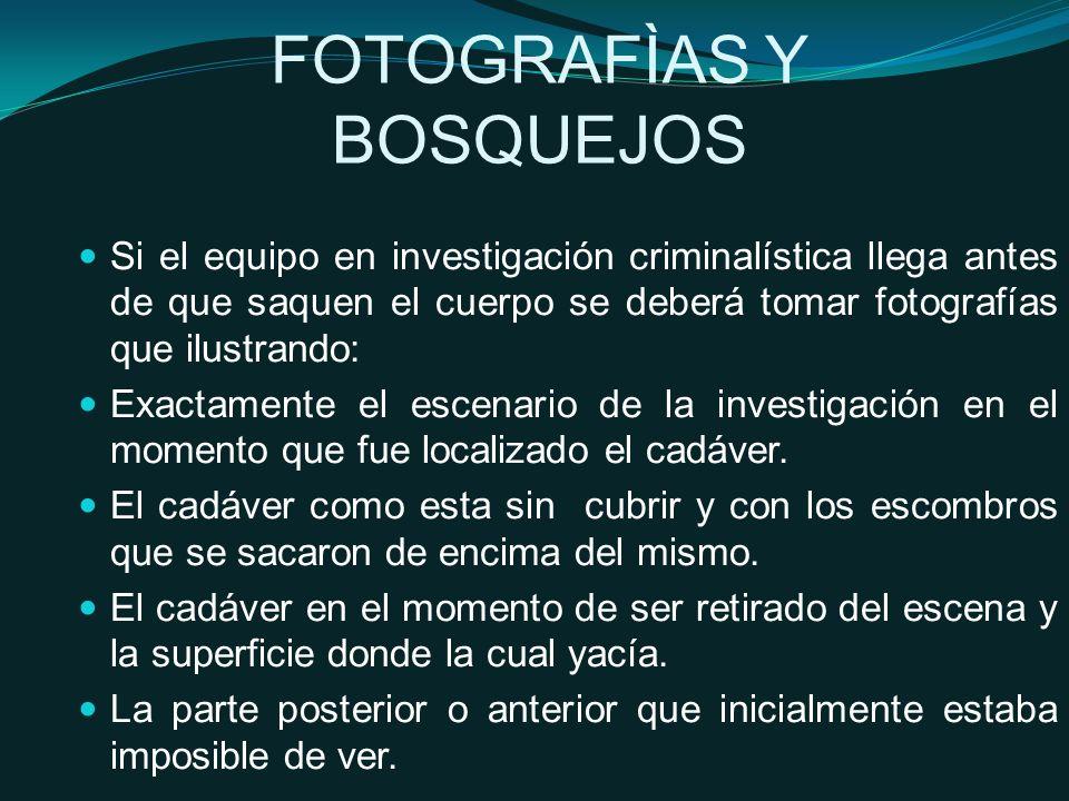 Si el equipo en investigación criminalística llega antes de que saquen el cuerpo se deberá tomar fotografías que ilustrando: Exactamente el escenario de la investigación en el momento que fue localizado el cadáver.