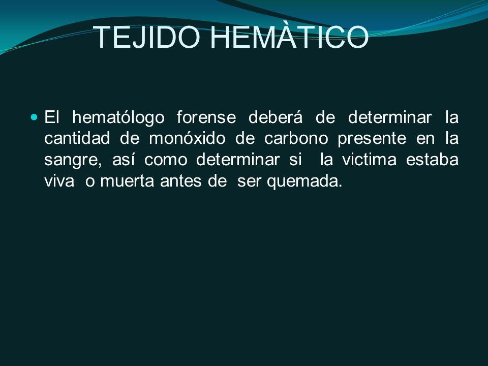 TEJIDO HEMÀTICO El hematólogo forense deberá de determinar la cantidad de monóxido de carbono presente en la sangre, así como determinar si la victima estaba viva o muerta antes de ser quemada.