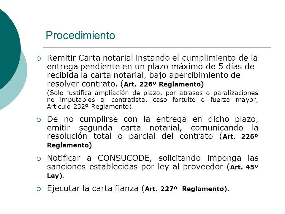 Procedimiento Remitir Carta notarial instando el cumplimiento de la entrega pendiente en un plazo máximo de 5 días de recibida la carta notarial, bajo