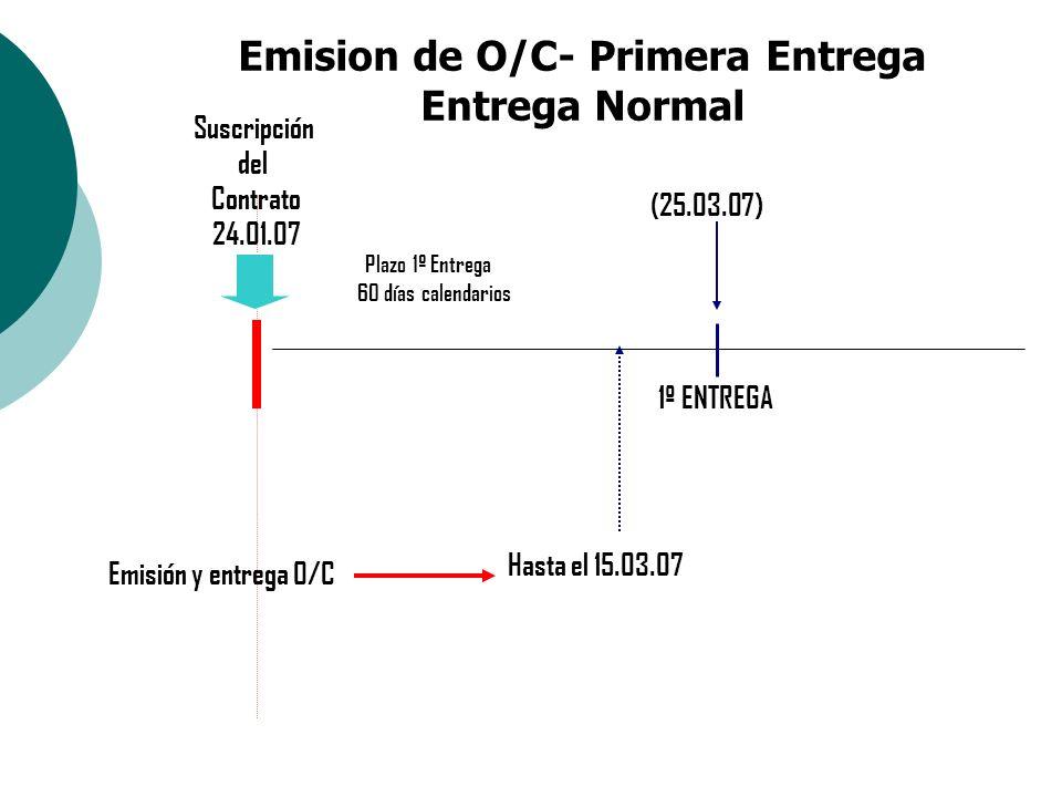 Emision de O/C- Primera Entrega Entrega Normal Plazo 1º Entrega Suscripción del Contrato 24.01.07 (25.03.07) Emisión y entrega O/C 60 días calendarios