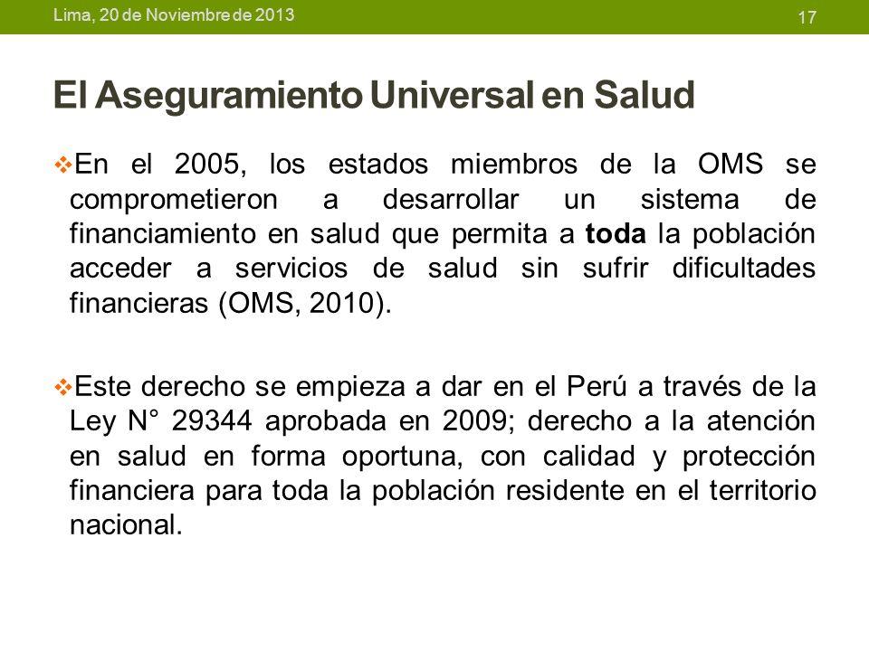 Lima, 20 de Noviembre de 2013 El Aseguramiento Universal en Salud En el 2005, los estados miembros de la OMS se comprometieron a desarrollar un sistem