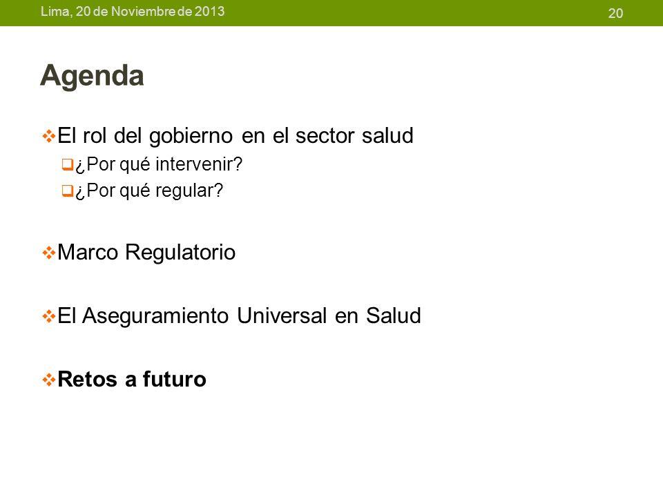 Lima, 20 de Noviembre de 2013 Agenda El rol del gobierno en el sector salud ¿Por qué intervenir? ¿Por qué regular? Marco Regulatorio El Aseguramiento