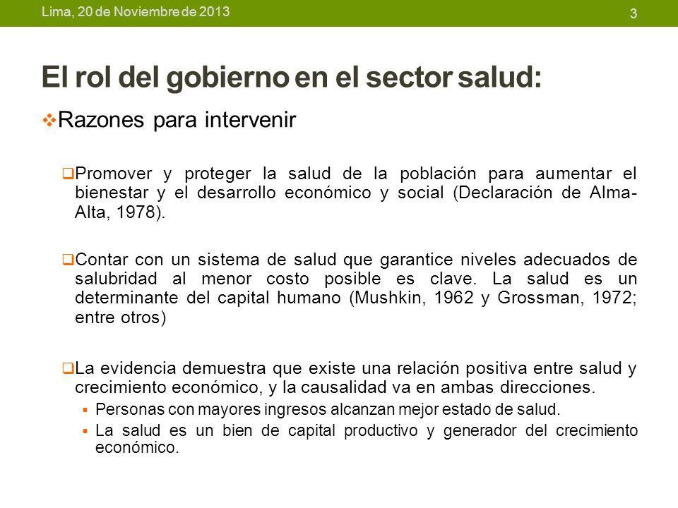 Lima, 20 de Noviembre de 2013 El rol del gobierno en el sector salud: Razones para intervenir El Estado debe asegurar una asignación óptima de recursos desde el punto de vista social: Asegurar un nivel óptimo de producción y consumo de bienes con externalidades positivas y bienes públicos.