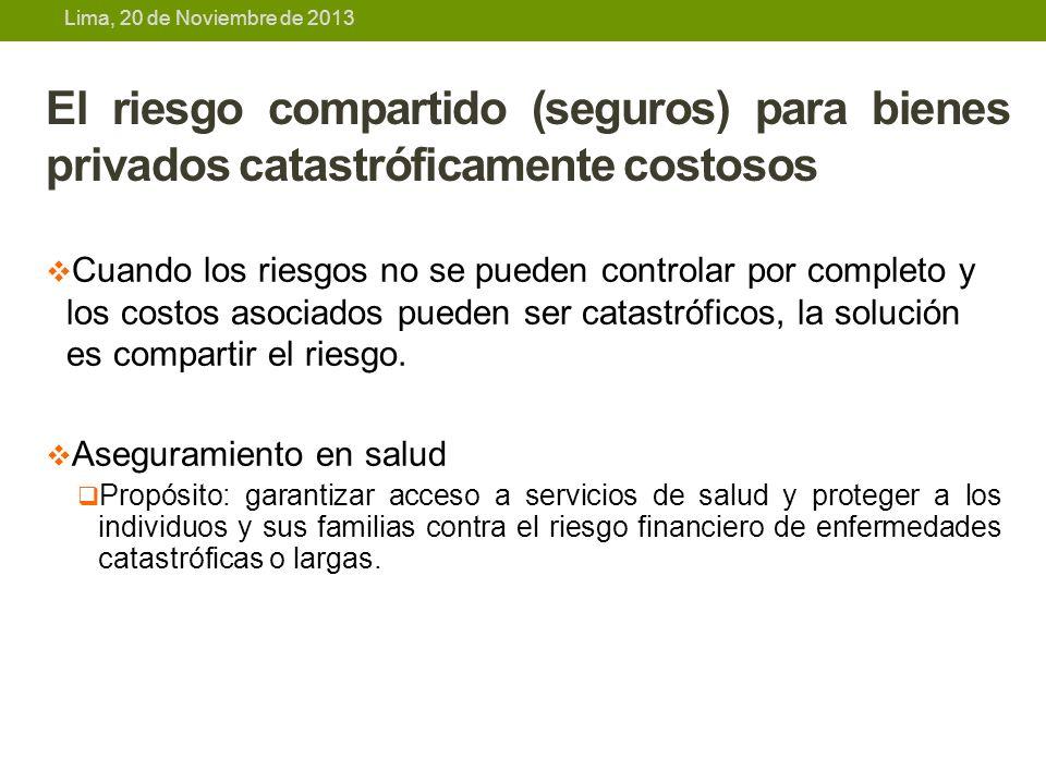 Lima, 20 de Noviembre de 2013 El riesgo compartido (seguros) para bienes privados catastróficamente costosos Cuando los riesgos no se pueden controlar