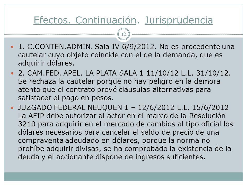 Efectos.Continuación. Jurisprudencia 16 1. C.CONTEN.ADMIN.