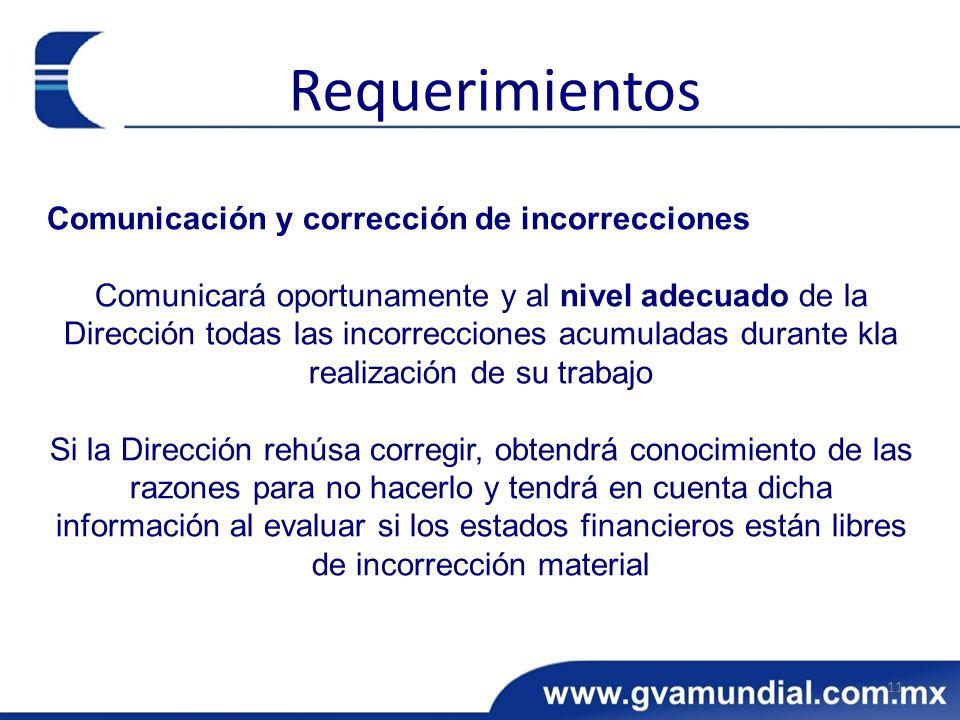 Comunicación y corrección de incorrecciones Comunicará oportunamente y al nivel adecuado de la Dirección todas las incorrecciones acumuladas durante k