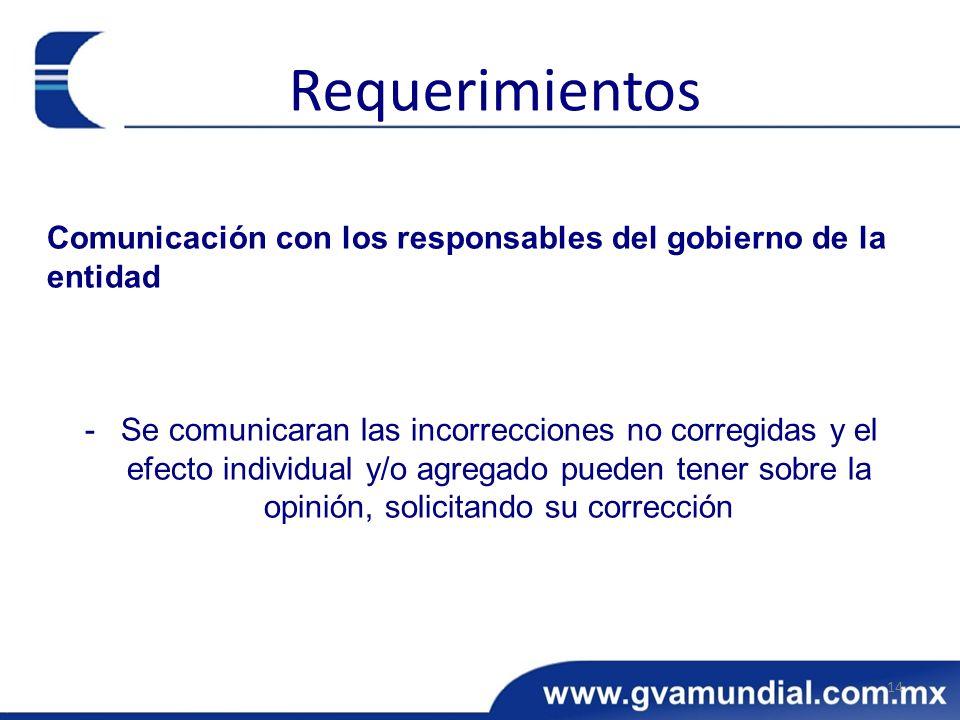 Comunicación con los responsables del gobierno de la entidad -Se comunicaran las incorrecciones no corregidas y el efecto individual y/o agregado pued