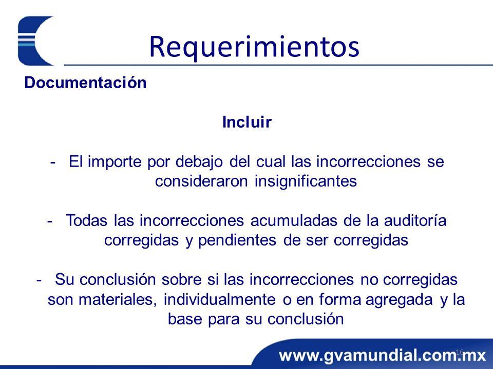 Documentación Incluir -El importe por debajo del cual las incorrecciones se consideraron insignificantes -Todas las incorrecciones acumuladas de la au