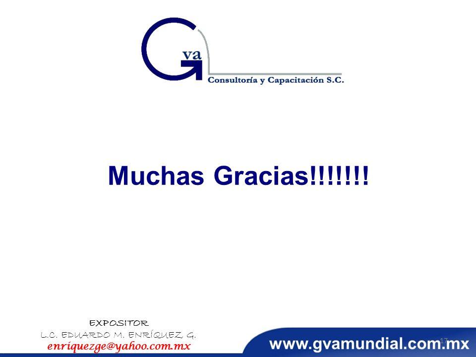 Muchas Gracias!!!!!!! EXPOSITOR L.C. EDUARDO M. ENRÍQUEZ G. enriquezge@yahoo.com.mx 17