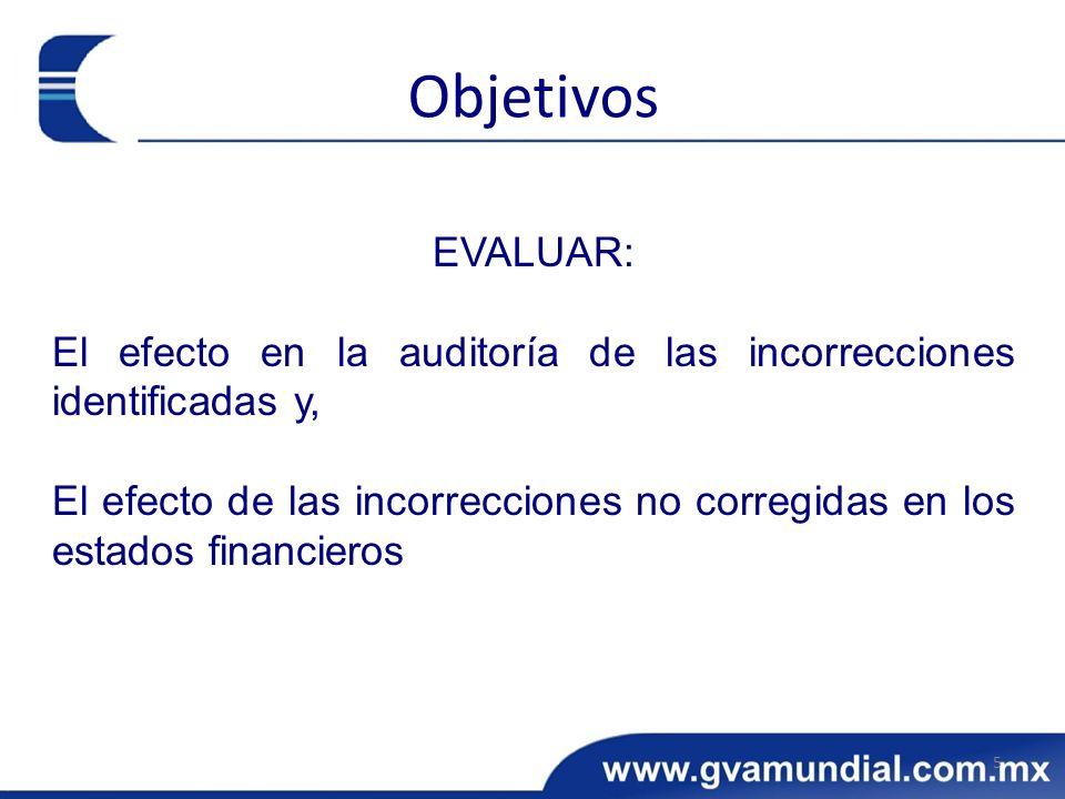EVALUAR: El efecto en la auditoría de las incorrecciones identificadas y, El efecto de las incorrecciones no corregidas en los estados financieros 5 O