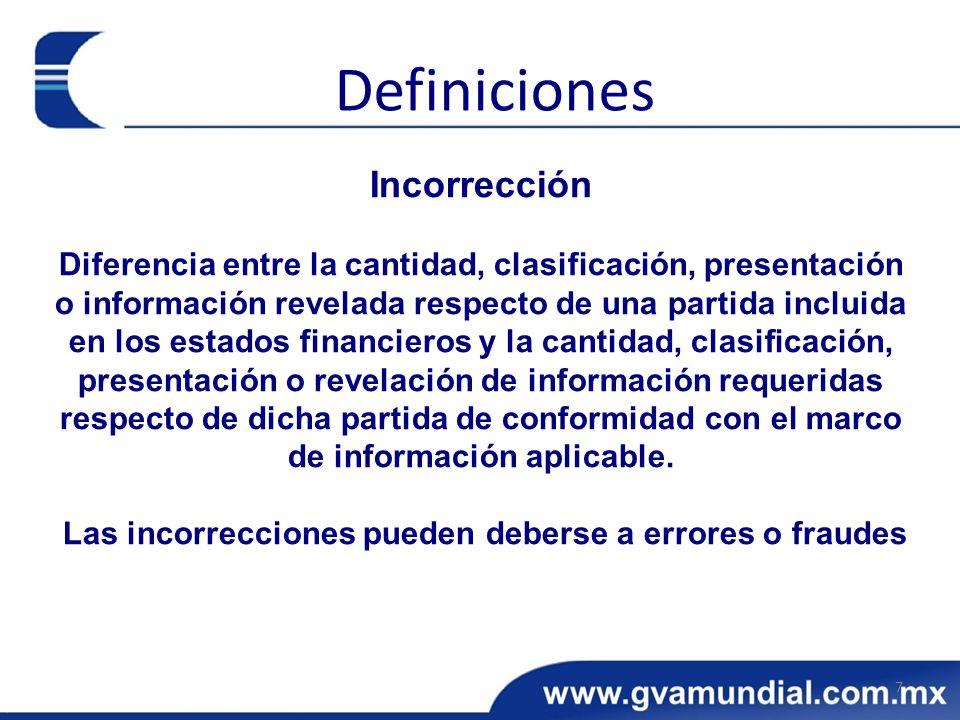 Incorrección Diferencia entre la cantidad, clasificación, presentación o información revelada respecto de una partida incluida en los estados financie