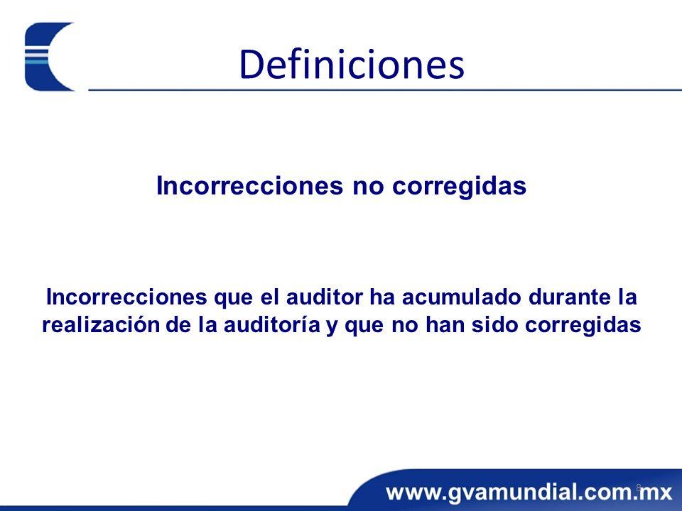Incorrecciones no corregidas Incorrecciones que el auditor ha acumulado durante la realización de la auditoría y que no han sido corregidas 8 Definici