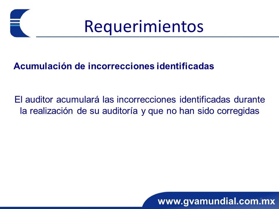 Acumulación de incorrecciones identificadas El auditor acumulará las incorrecciones identificadas durante la realización de su auditoría y que no han