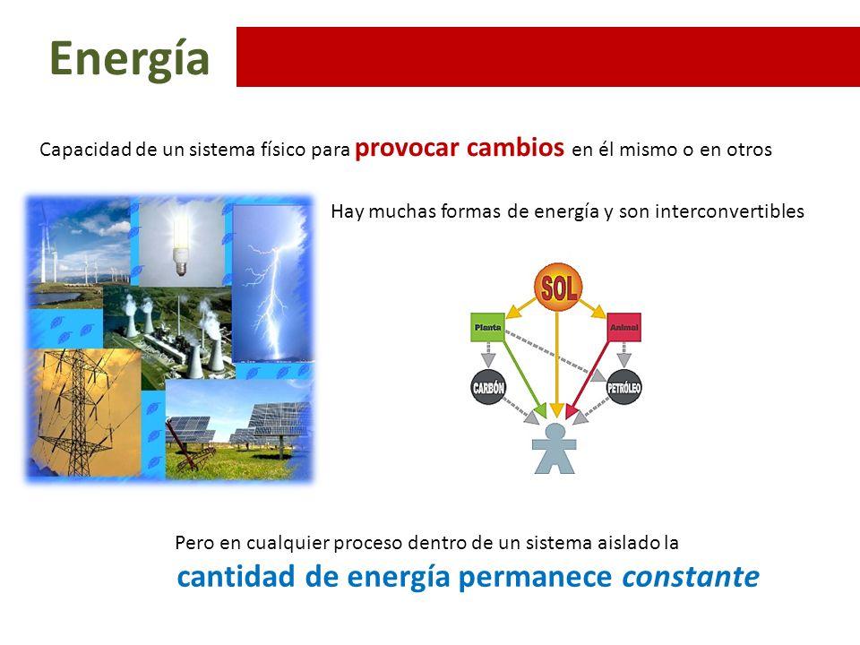 Energía Formas Cinética : definida por la velocidad Potencial : Definida por la posición o situación Interna : Definida por la composición y estado