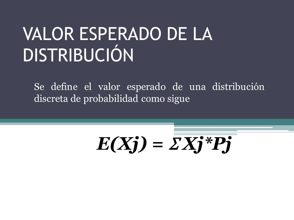 VALOR ESPERADO DE LA DISTRIBUCIÓN Se define el valor esperado de una distribución discreta de probabilidad como sigue E(Xj) = Ʃ Xj*Pj