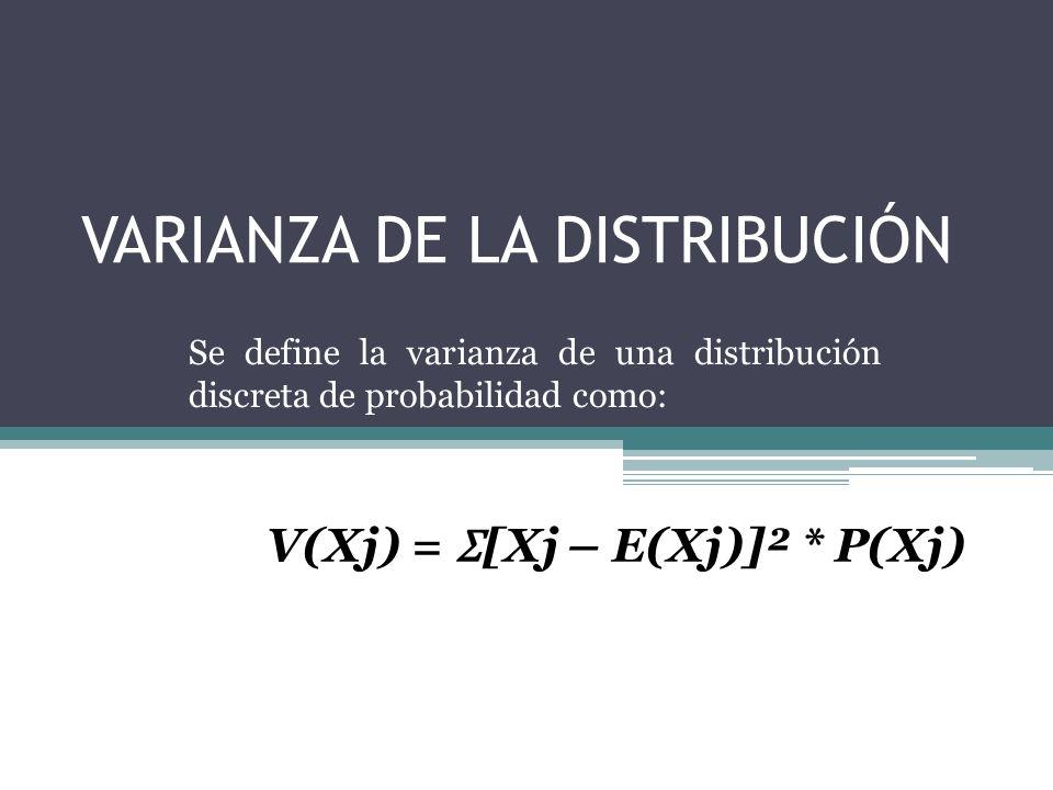 VARIANZA DE LA DISTRIBUCIÓN Se define la varianza de una distribución discreta de probabilidad como: V(Xj) = Ʃ [Xj – E(Xj)]² * P(Xj)