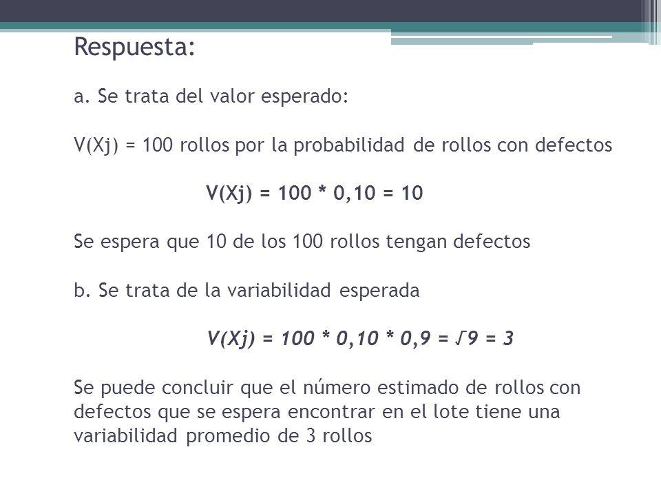 Respuesta: a. Se trata del valor esperado: V(Xj) = 100 rollos por la probabilidad de rollos con defectos V(Xj) = 100 * 0,10 = 10 Se espera que 10 de l