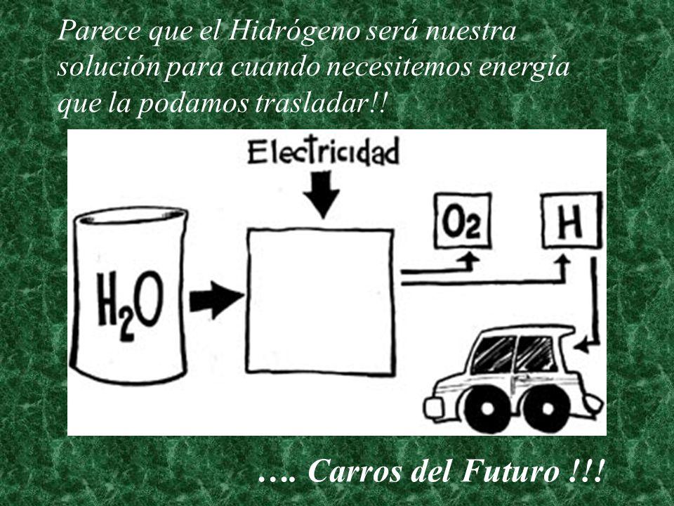 Parece que el Hidrógeno será nuestra solución para cuando necesitemos energía que la podamos trasladar!! …. Carros del Futuro !!!
