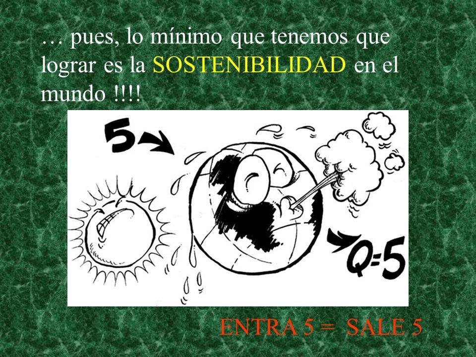 … pues, lo mínimo que tenemos que lograr es la SOSTENIBILIDAD en el mundo !!!! ENTRA 5 = SALE 5