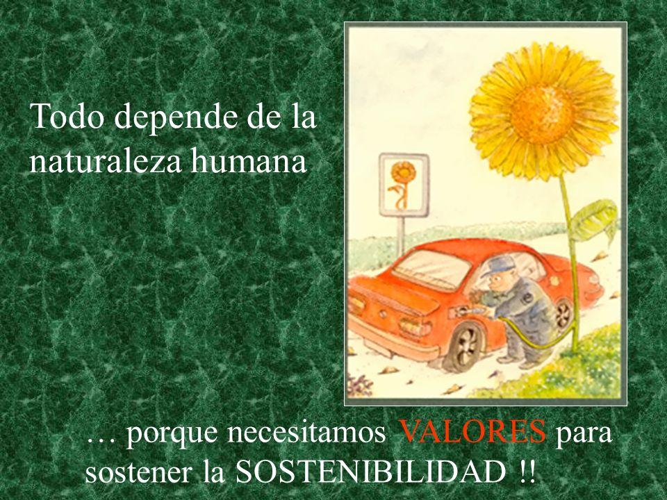 Todo depende de la naturaleza humana … porque necesitamos VALORES para sostener la SOSTENIBILIDAD !!