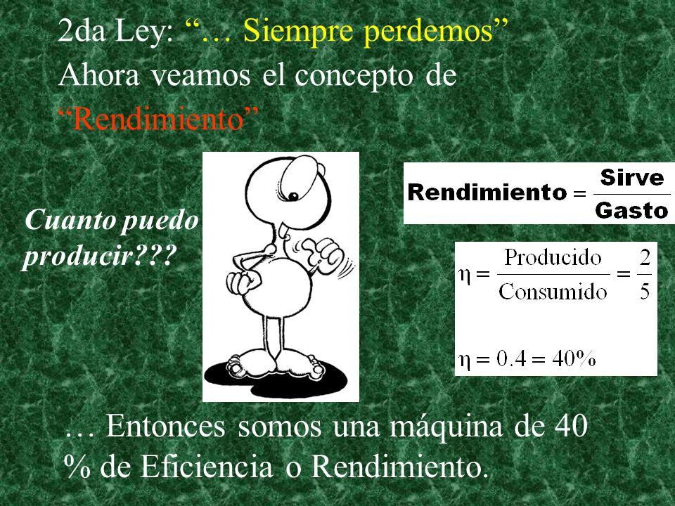 2da Ley: … Siempre perdemos Ahora veamos el concepto de Rendimiento … Entonces somos una máquina de 40 % de Eficiencia o Rendimiento.