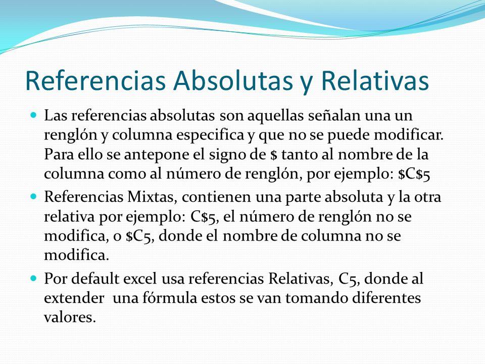 Referencias Absolutas y Relativas Las referencias absolutas son aquellas señalan una un renglón y columna especifica y que no se puede modificar.