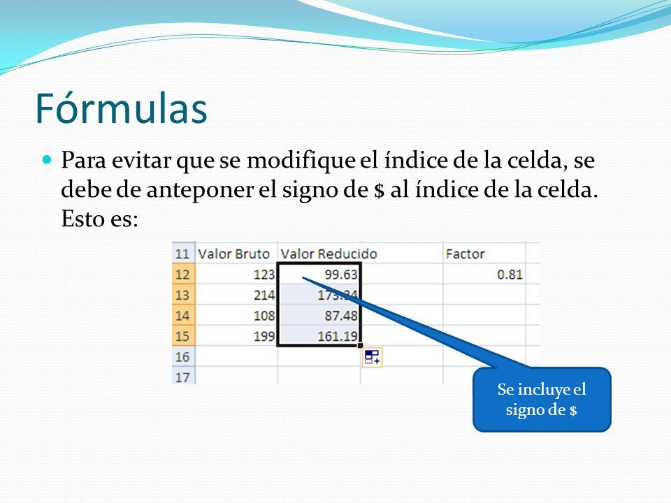 Fórmulas Para evitar que se modifique el índice de la celda, se debe de anteponer el signo de $ al índice de la celda.