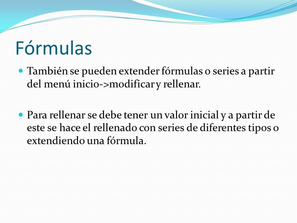 Fórmulas También se pueden extender fórmulas o series a partir del menú inicio->modificar y rellenar.