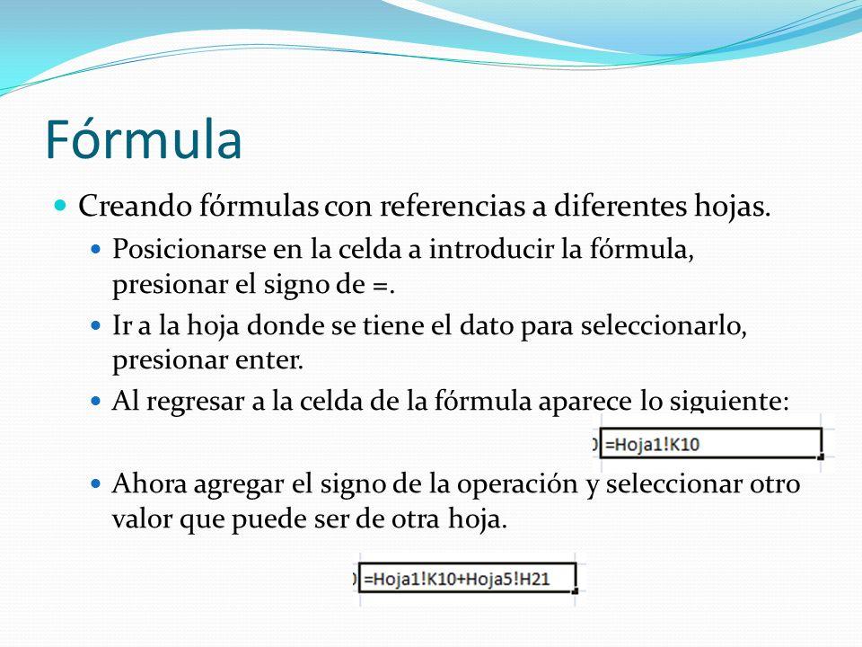 Fórmula Creando fórmulas con referencias a diferentes hojas.