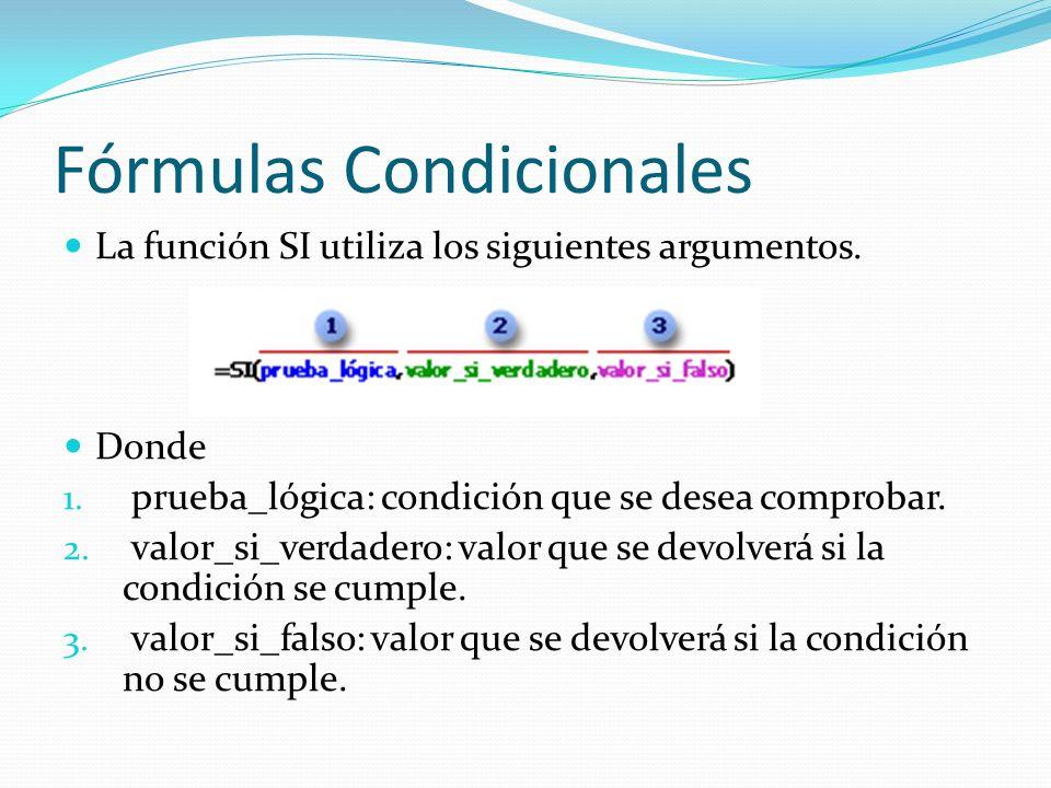 Fórmulas Condicionales La función SI utiliza los siguientes argumentos.