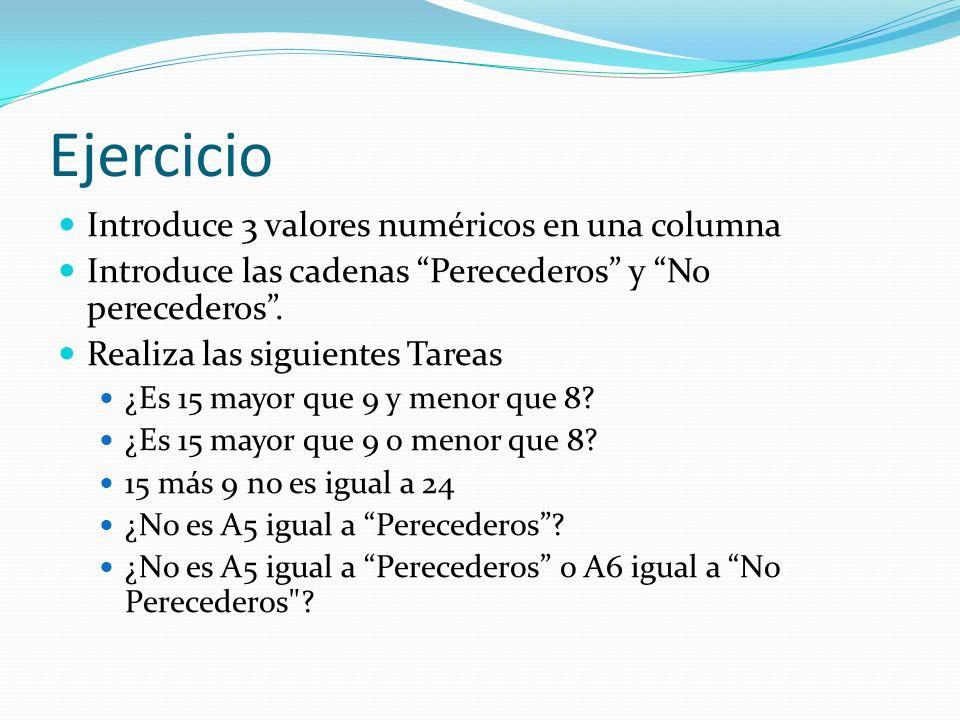 Ejercicio Introduce 3 valores numéricos en una columna Introduce las cadenas Perecederos y No perecederos.
