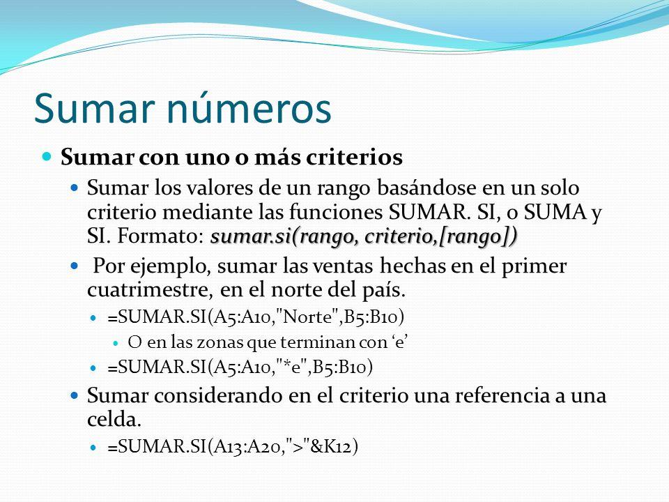 Sumar números Sumar con uno o más criterios sumar.si(rango, criterio,[rango]) Sumar los valores de un rango basándose en un solo criterio mediante las funciones SUMAR.