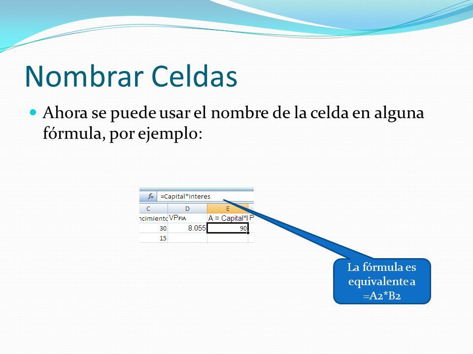 Nombrar Celdas Ahora se puede usar el nombre de la celda en alguna fórmula, por ejemplo: La fórmula es equivalente a =A2*B2