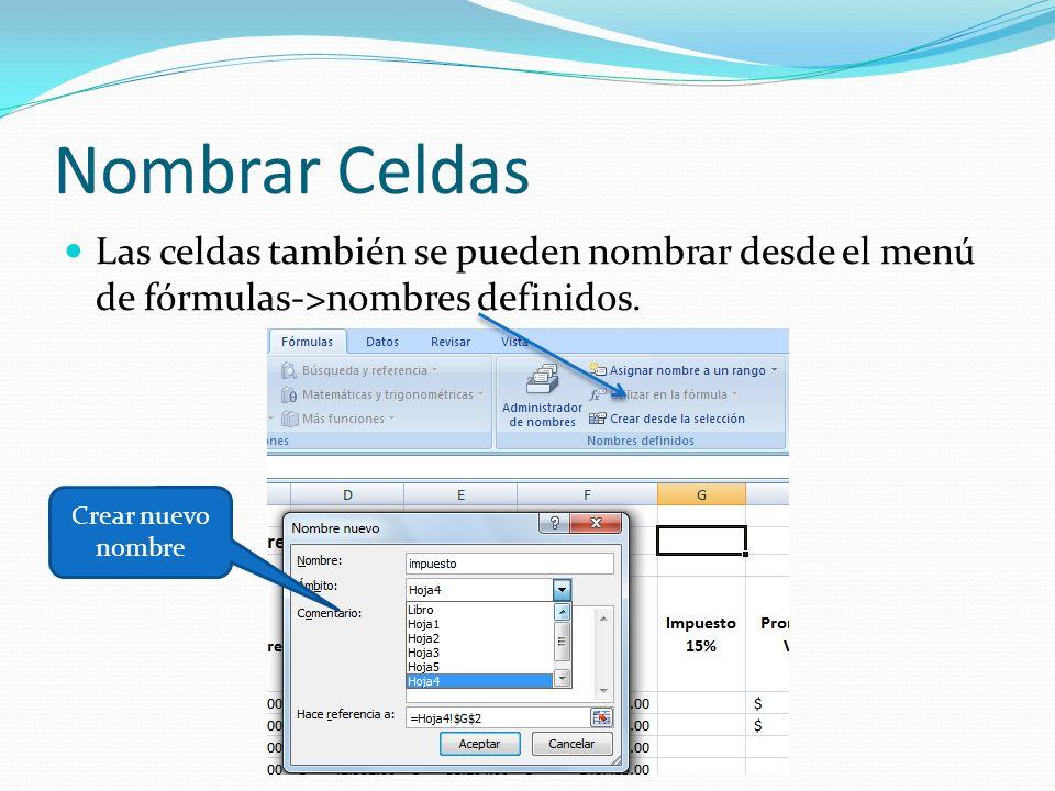 Nombrar Celdas Las celdas también se pueden nombrar desde el menú de fórmulas->nombres definidos.