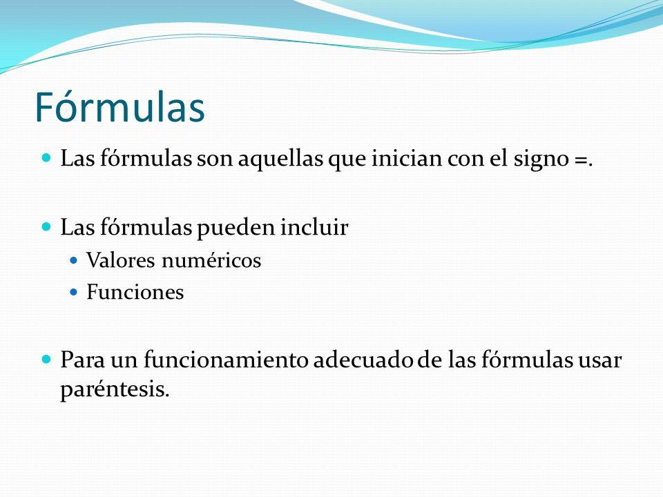 Fórmulas Las fórmulas son aquellas que inician con el signo =.