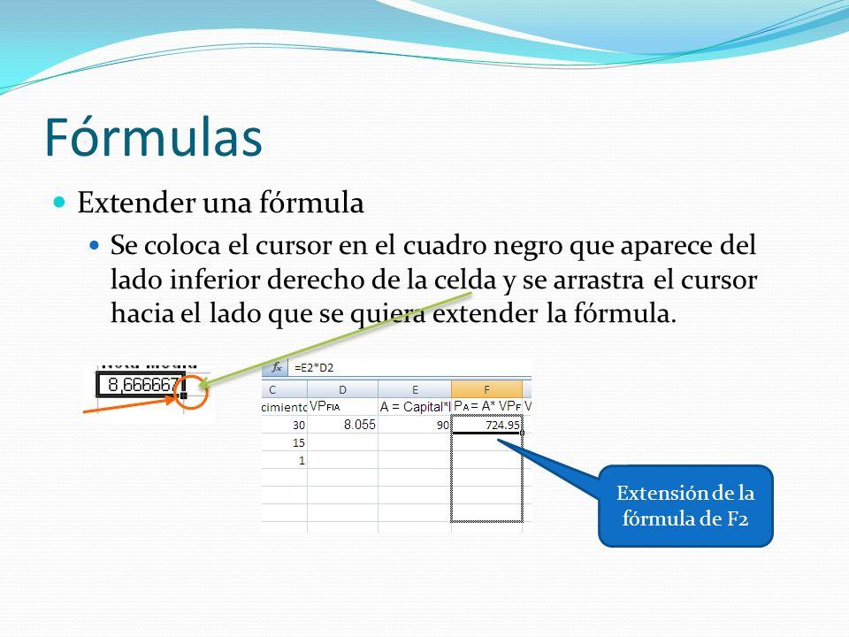 Fórmulas Extender una fórmula Se coloca el cursor en el cuadro negro que aparece del lado inferior derecho de la celda y se arrastra el cursor hacia el lado que se quiera extender la fórmula.