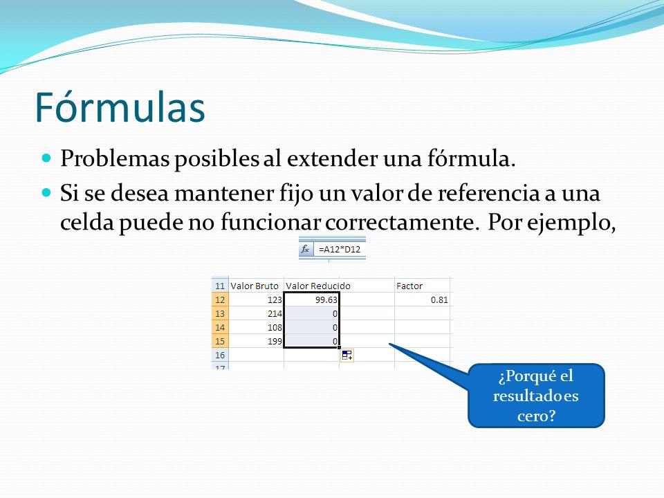 Fórmulas Problemas posibles al extender una fórmula.