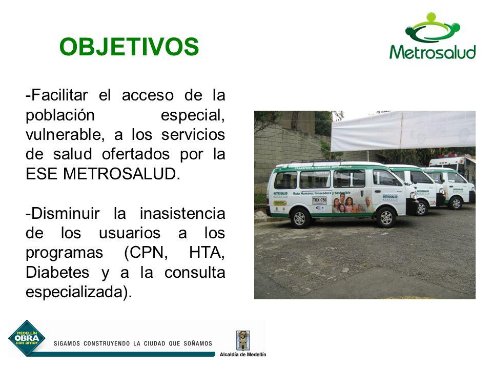 -Facilitar el acceso de la población especial, vulnerable, a los servicios de salud ofertados por la ESE METROSALUD.