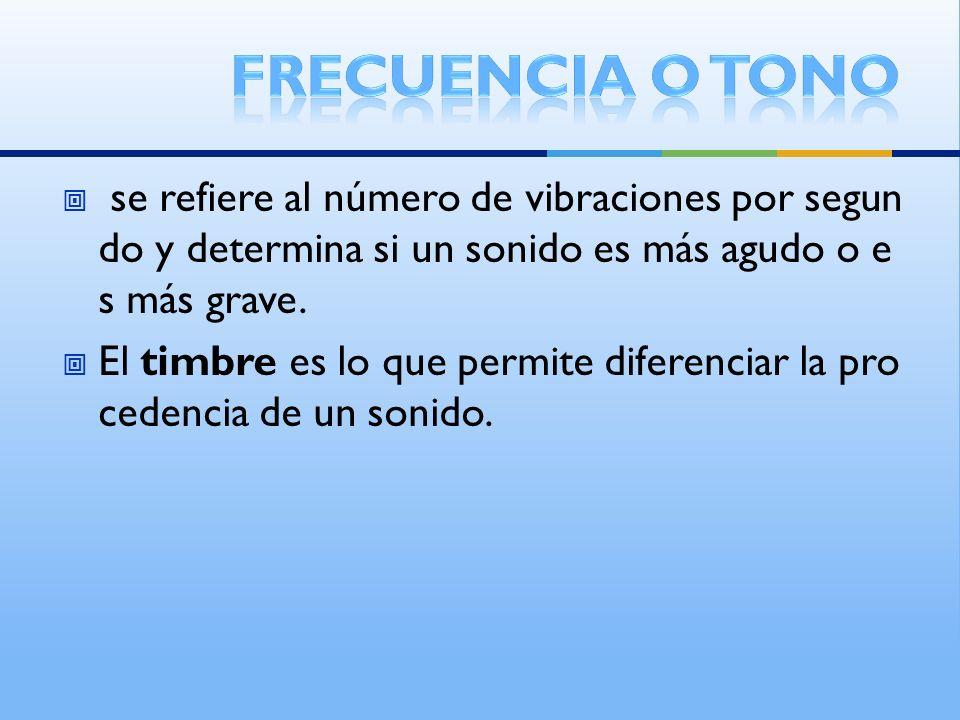 se refiere al número de vibraciones por segun do y determina si un sonido es más agudo o e s más grave. El timbre es lo que permite diferenciar la pro