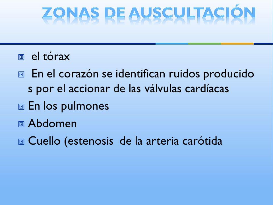 el tórax En el corazón se identifican ruidos producido s por el accionar de las válvulas cardíacas En los pulmones Abdomen Cuello (estenosis de la arteria carótida