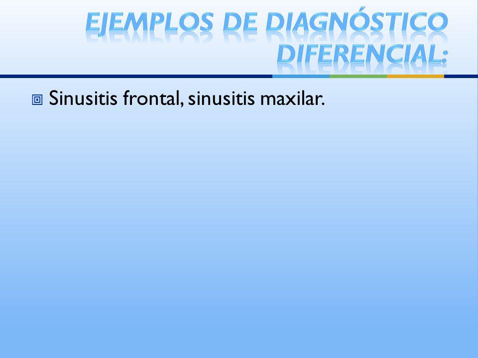 Sinusitis frontal, sinusitis maxilar.