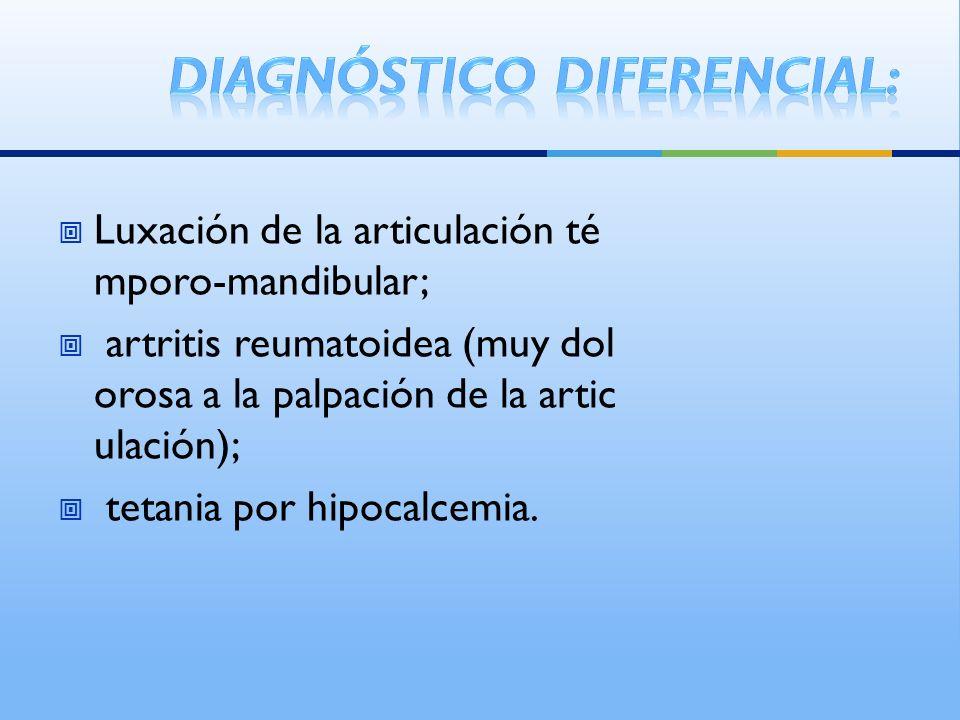 Luxación de la articulación té mporo-mandibular; artritis reumatoidea (muy dol orosa a la palpación de la artic ulación); tetania por hipocalcemia.